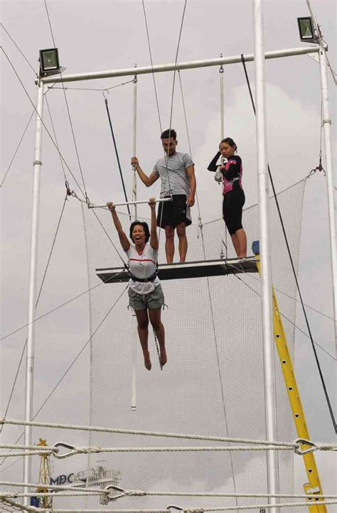 trying swinging flying trapeze a swinging thrill inquirer lifestyle