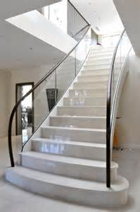 Marble Stairs Design Modern Contemporary Staircase With Curved Glass Balustrades Constructed From Steel Glass