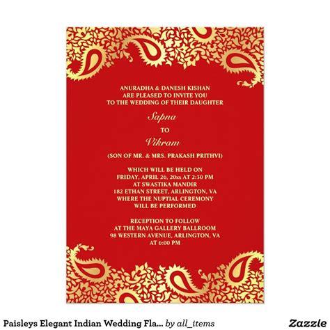 Paisleys Elegant Indian Wedding Flat Invitationindian Wedding Invitation Red Contrast With