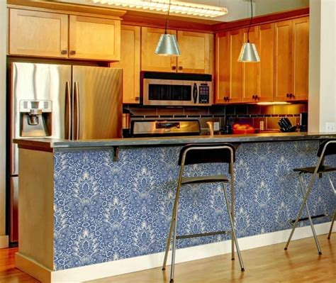 Offbeat Home by Use Removable Wallpaper On Your Kitchen Breakfast Bar