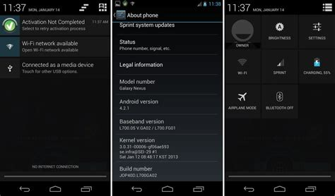 android 4 1 2 update manually install android 4 2 1 jelly bean update on sprint galaxy nexus l700 leak the