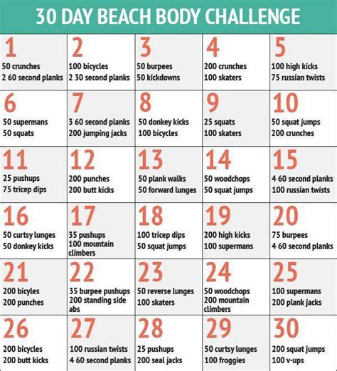 30 day workout plan for women at home choose your 30 day workout challenge 20 infographics