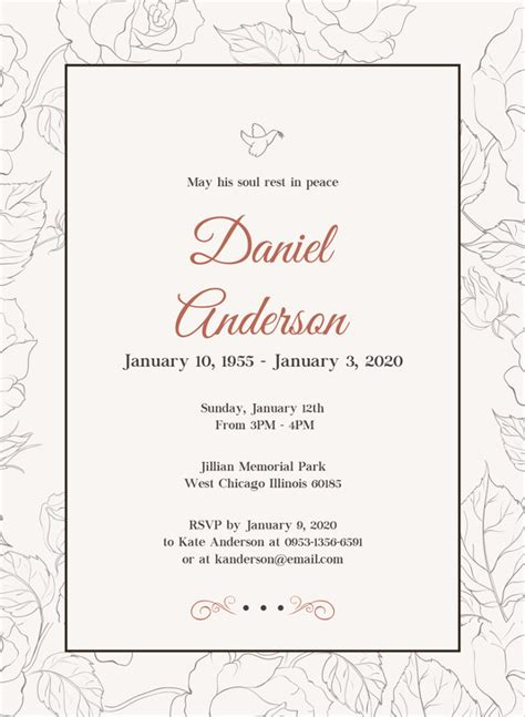 free funeral invitation card template 28 funeral invitation templates psd ai free