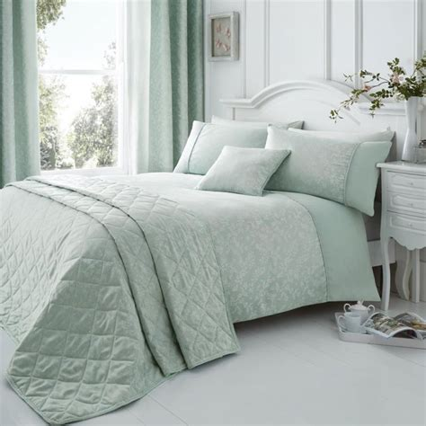 Duck Egg Quilted Bedspread by Floral Duck Egg Quilted Bedspread Tonys