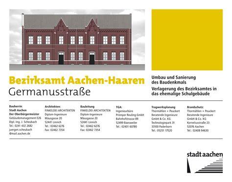 Bauschild Klein by Stadt Aachen Geb 228 Udemanagement Bezirksamt Aachen Haaren