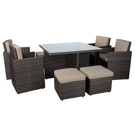 rattan table set 9 brown rattan wicker cube table chair footstool