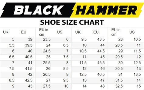 big shoe size chart size chart black hammer shoe chart