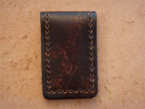 Handmade Money Clip - handmade brown leather magnetic money clip by hawkinsleather