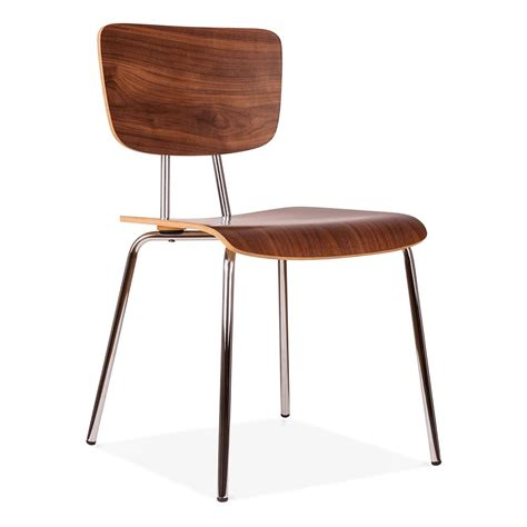 cult living bergen chair in walnut wood with chrome frame