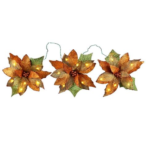 18 light battery operated led gold 3 poinsettia flower