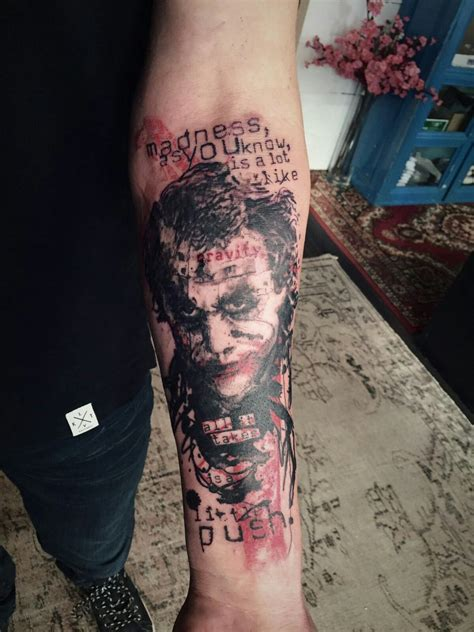 joker tattoo on wrist this my brother in law latest tattoo heath ledger s the