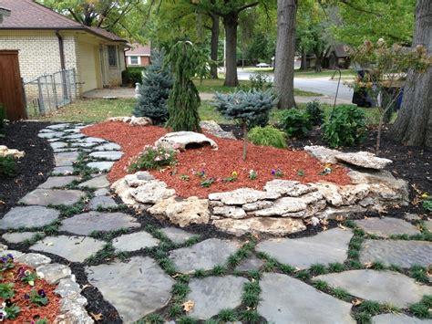 Landscape Edging Tulsa Raised Landscape Bed With Limestone Boulder Border And