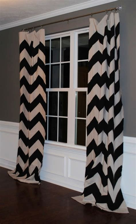 chevron drapes black and white chevron curtains against grey wall