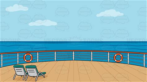 deck of a cruise ship with deck chairs background cartoon - Cartoon Boat Deck