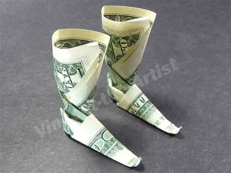 Origami Boot - dollar money origami shoe boots great oragami gift