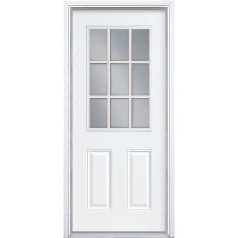 Masonite 32 In X 80 In Premium 9 Lite Primed White Right 9 Lite Exterior Door