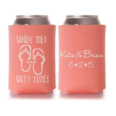 koozie wedding favors wedding favors toes salty kisses personalized can coolers diy favors for guests