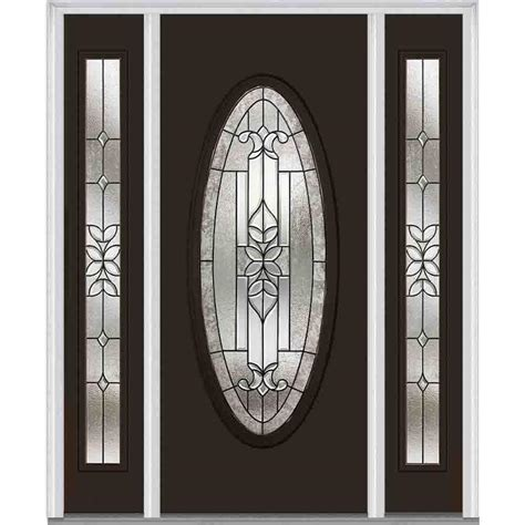 Oval Glass Doors Mmi Door 68 5 In X 81 75 In Cadence Decorative Glass Oval Painted Fiberglass Smooth