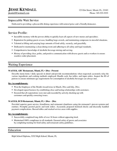 Waiter Objective Resume by Waiters Resume
