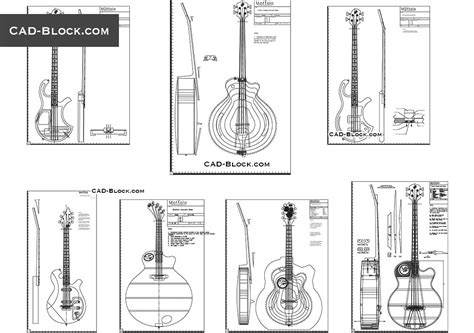 Gitar Block guitar drawings autocad dwg