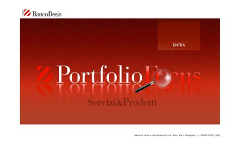 banco desio toscana banco desio portfolio focus sequel s r l