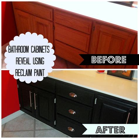 how to paint bathroom cabinets black bathroom cabinets reveal using reclaim paint decorate my