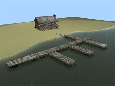 boat dock games log cabin dock combo 3d obj