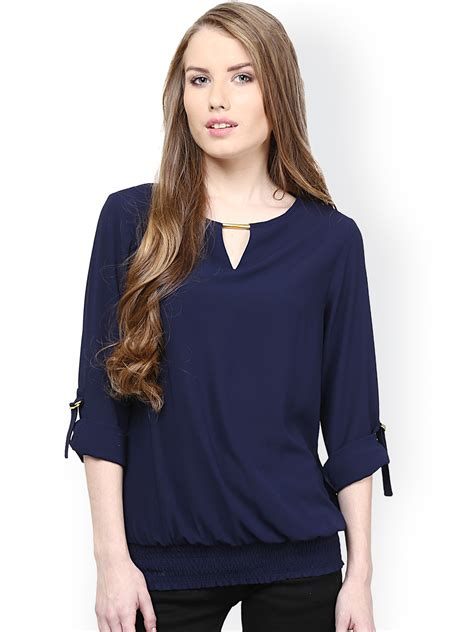 best women buy rare navy blouson top tops for women myntra