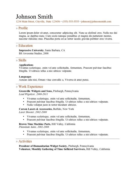 exles of a good resume template resume builder