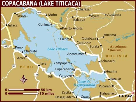 lake titicaca map map of copacabana lake titicaca