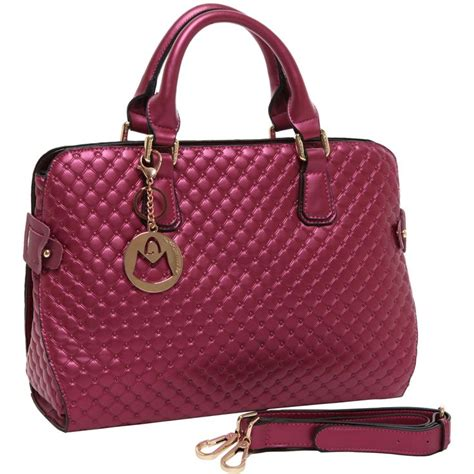 Quilted Canvas Bag Metallic Collection From Series by Mg Collection Maggie Fuchsia Pink Metallic Quilted Top