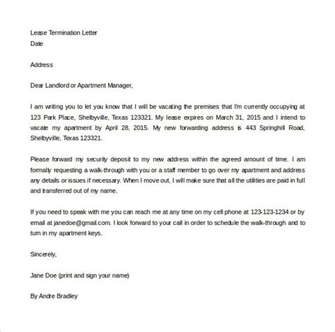 Lease Agreement Changing Letter Sle Lease Termination Letter To Landlord The Best Letter Sle