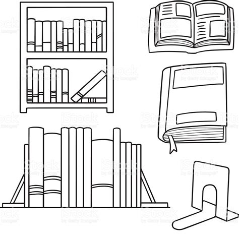bookshelf sketch vector set of bookshelf stock vector more images of
