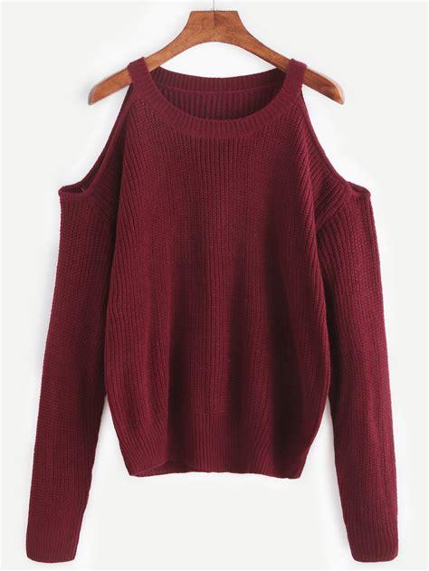 burgundy knit sweater burgundy open shoulder knit sweaterfor romwe