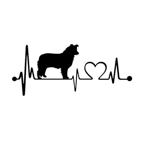 puppy heartbeat aliexpress buy 19 8 3cm border collie heartbeat decal stickers car cover
