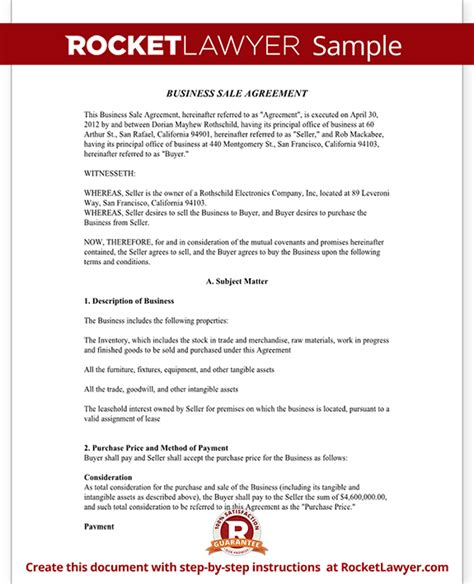 business sale agreement contract form with template sle