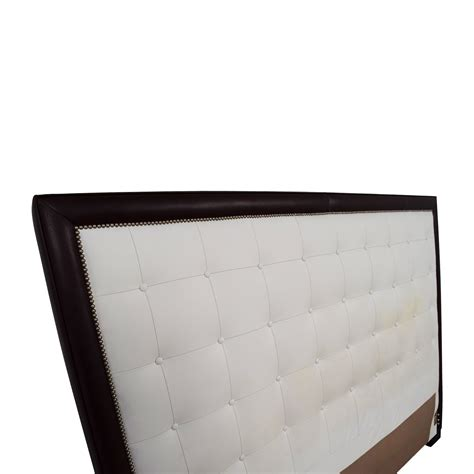 Leather Nailhead Headboard 66 Custom White Tufted Leather Nailhead And Wood King Headboard Beds