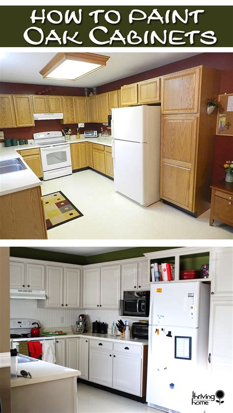 How To Paint Oak Kitchen Cabinets | painting oak cabinets thriving home
