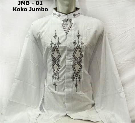 baju koko jumbo warna putih lengan panjang berkualitas