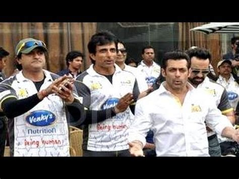celebrity cricket league next match salman khan at celebrity cricket league match 2014 youtube