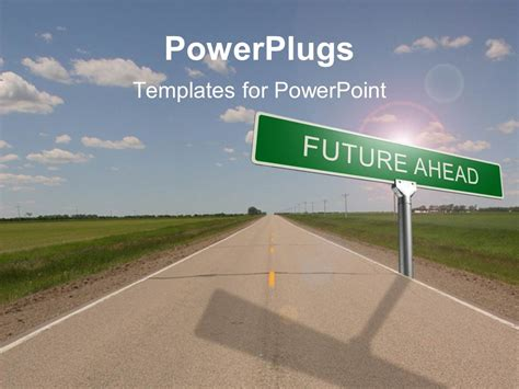 Powerpoint Template Highway With Green Road Sign Reading Future Ahead With Cloudy Sky Overhead Microsoft Powerpoint Templates Road