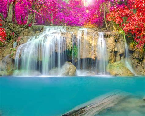 wallpaper waterfall thailand erawan falls erawan