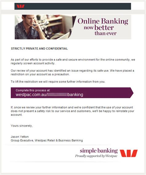 Westpac Credit Letter Scams Westpac