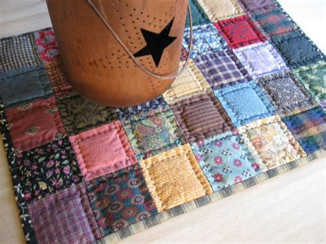Patchwork Quilt Pictures - miniature quilted table topper mat scrappy patchwork quilt