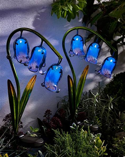 glass flower solar lights solar glass bluebell stake light 2 pack j d williams