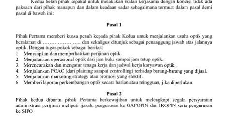 contoh surat perjanjian kerjasama pengusaha dengan refraksionis
