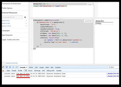 javascript date format jsfiddle jquery jquqey ui returning wrong date when using