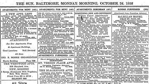 apartment listings 75 years ago today ghosts of baltimore