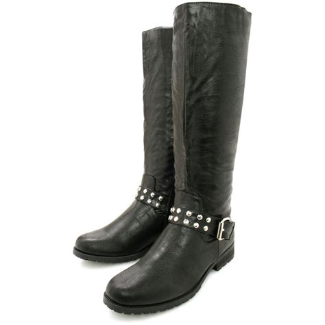 buy flat studded buckle knee high biker boots black