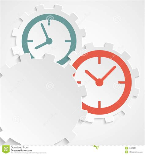 template clock vector concept of time clock on the gear icon cutaway paper stock